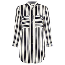 Buy Hobbs Batik Stripe Shirt, Navy/Pebble Online at johnlewis.com