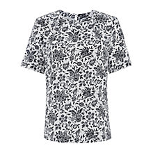 Buy Hobbs Batik Silk Top, Navy/Pebble Online at johnlewis.com