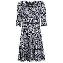 Buy Hobbs Batik Butterfly Dress, Navy/Pebble Online at johnlewis.com
