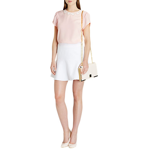 Buy Ted Baker Textured Flared Skirt, White Online at johnlewis.com