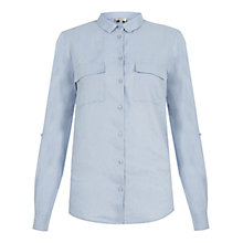 Buy Hobbs Jane Linen Shirt, Pastel Blue Online at johnlewis.com