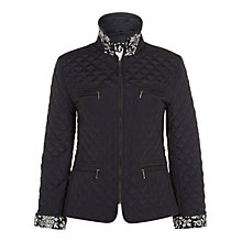 Buy Hobbs Batik Quilted Jacket, Navy Online at johnlewis.com