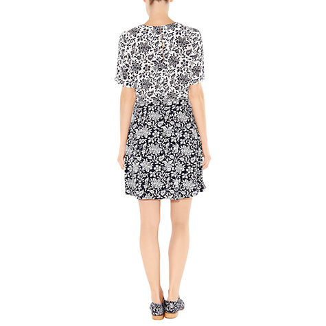 Buy Hobbs Batik Butterfly Skirt, Navy/Pebble Online at johnlewis.com