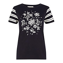 Buy Hobbs Batik Butterfly T-Shirt, Navy/Pebble Online at johnlewis.com