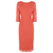 Buy Oasis Lace Midi Dress, Coral Online at johnlewis.com