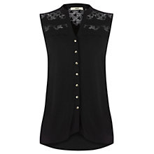 Buy Oasis Lace Yoke Shirt, Black Online at johnlewis.com