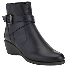 Buy John Lewis Warbler Leather Ankle Boots, Navy Online at johnlewis.com