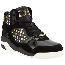 Buy DKNY Cleo Studded Leather/Suede Trainers, Black/Gold Online at johnlewis.com
