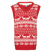 Buy John Lewis Boy Reindeer Vest Top, Red/White Online at johnlewis.com