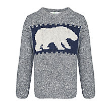 Buy John Lewis Boy Polar Bear Crew Neck Jumper, Grey/Blue Online at johnlewis.com