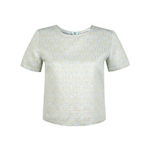 Buy Miss Selfridge Jacquard T-Shirt, Mint Green Online at johnlewis.com