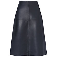 Buy Whistles Lauren Leather A-Line Skirt, Navy Online at johnlewis.com