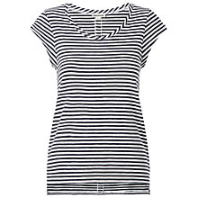 Buy Whistles Faye Striped Seam Back T-Shirt, Navy Online at johnlewis.com