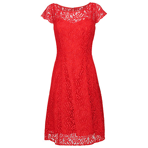 Buy Phase Eight Lettie Lace Fit & Flare Dress, Scarlet Online at johnlewis.com