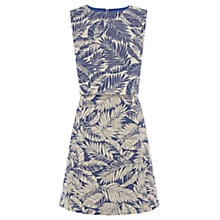 Buy Warehouse Pattern Palm Leaf Dress, Blue Online at johnlewis.com