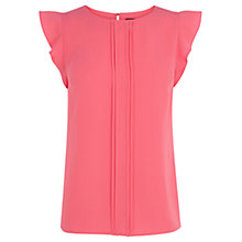 Buy Oasis Pintuck Frill Sleeve Top, Bright Pink Online at johnlewis.com