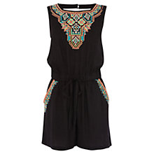 Buy Warehouse Fluro Embroidered Playsuit, Black Online at johnlewis.com