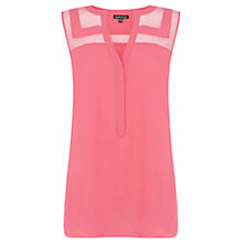 Buy Warehouse Organza Insert Sleeveless Blouse, Bright Pink Online at johnlewis.com