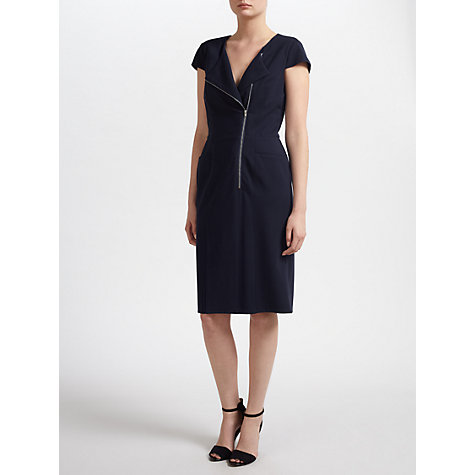 Buy Gina Bacconi Soft Handle Ponti Zip Dress, Navy Online at johnlewis.com