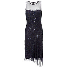 Buy Gina Bacconi Beaded Godet Dress, Navy Online at johnlewis.com