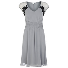 Buy Kaliko Silk Lace Ruched Dress, Silver Grey Online at johnlewis.com