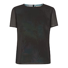 Buy Kaliko Palm Print Overlay T-Shirt, Multi/Black Online at johnlewis.com