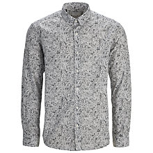 Buy Selected Homme Metro Digital Print Long Sleeve Shirt, Grey/White Online at johnlewis.com