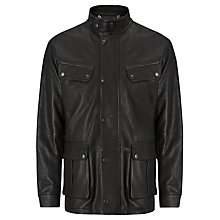 Buy Barbour Saddler Leather Jacket, Black Online at johnlewis.com