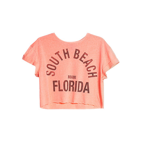 Buy Mango Printed Cropped T-Shirt, Medium Pink Online at johnlewis.com