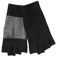 Buy Kin by John Lewis Fingerless Colour Block Gloves, Black/Grey Online at johnlewis.com