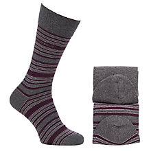 Buy BOSS Stripe Socks, Pack of 2, Grey/Purple Online at johnlewis.com