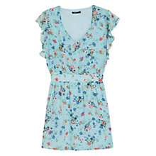 Buy Mango Floral Print Chiffon Dress, Pastel Blue Online at johnlewis.com