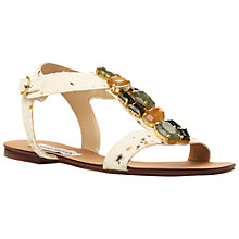 Buy Steve Madden Habtat-S Chunky Crystal Pony Hair Effect Flat Leather Sandals, Multi White Online at johnlewis.com