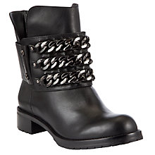 Buy DKNY Mara Chain Detail Leather Biker Boots, Black Online at johnlewis.com