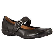 Buy Gabor Biss Buckle Detail Flat Leather Shoes, Black Online at johnlewis.com