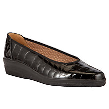 Buy Gabor Piquet Patent Ballerinas, Black Crocodile Online at johnlewis.com