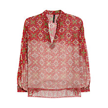 Buy Mango Mosaic Print Chiffon Blouse, Red Online at johnlewis.com