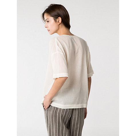 Buy Mango Embroidered Blouse, Natural White Online at johnlewis.com