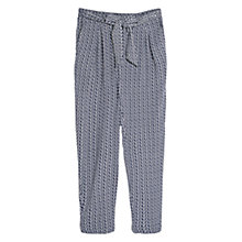 Buy Mango Geo Print Tie Front Trousers, Navy Online at johnlewis.com