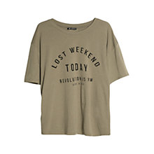 Buy Mango Oversized Message T-Shirt, Khaki Online at johnlewis.com