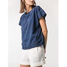 Buy Mango Crochet Trim Short Sleeve Jumper, Blue Online at johnlewis.com