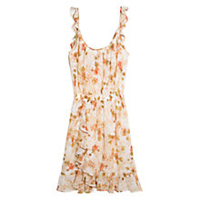 Buy Mango Floral Print Chiffon Dress, Brown/White Online at johnlewis.com
