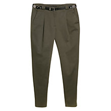 Buy Mango Belted Pleated Trousers, Green Online at johnlewis.com