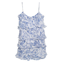 Buy Mango Ruffled Printed Dress, Bright Blue Online at johnlewis.com