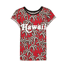 Buy Mango Hawaii Palm Print T-Shirt, Bright Red Online at johnlewis.com