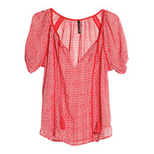 Buy Mango Trimmed Ethnic Blouse, Bright Red Online at johnlewis.com