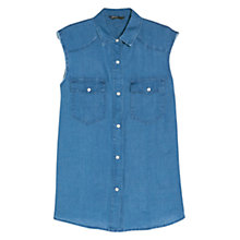 Buy Mango Sleeveless Linen Shirt, Medium Blue Online at johnlewis.com