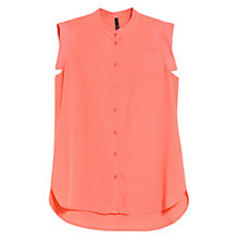 Buy Mango Mao Collar Shirt, Light Pastel Red Online at johnlewis.com