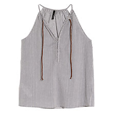 Buy Mango Striped Halterneck Top, Medium Blue Online at johnlewis.com