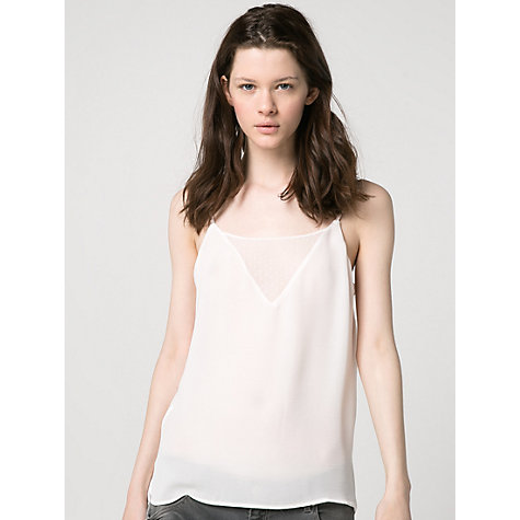 Buy Mango Plumeti Vest Top, Natural White Online at johnlewis.com
